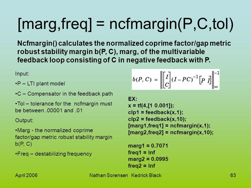 [marg,freq] = ncfmargin(P,C,tol)